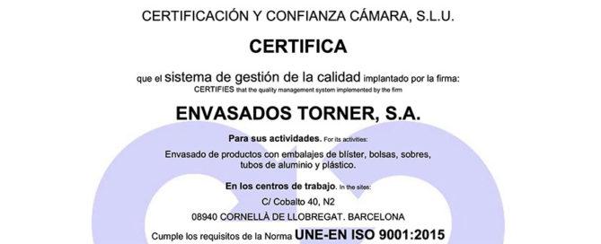Envasados Torner obtiene la certificación ISO 9001